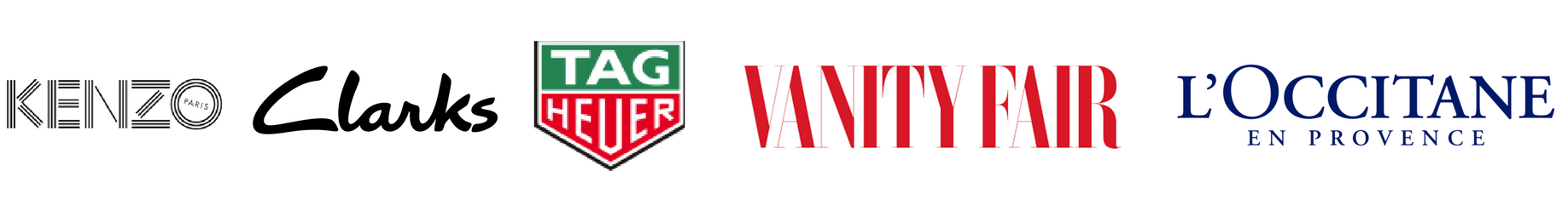 [Logos of Kenzo, Clarks, tag heuer, vanity fair, l occitane).png